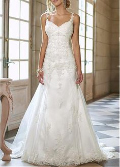 Striking Tulle & Satin A-line Spaghetti Strap Neckline Empire Waist Full Length Wedding Gown With Beadings