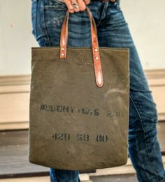 Allen Salvaged Canvas and Leather Tote