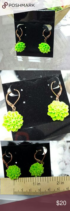 """Dainty lime green and copper dangle earrings Made in Alaska, beautiful attention to detail! Approx 1/2"""" wide and hang a little more than 1"""" Jewelry Earrings"""