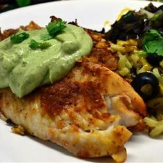 Do I really need to say much more?! The recipe title should be enough ;) Get this Crispy Chipotle Lime Tilapia with Cool Avocado Sauce Recipe NOW!