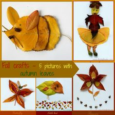 Fall crafts for kids - 5 pictures with autumn leaves - Kiddie Foodies