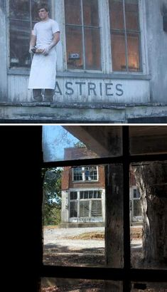 The abandoned Henry River Mill Village in Burke County, North Carolina became District 12 for a few days in the summer of 2011 as crews filming The Hunger Games recorded their location footage. The former General Store building needed very little modification to become the Mellark Bakery where Peeta Mellark worked.