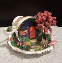 Teacup Garden, Fairy Garden in Cup & Saucer, Miniature Garden, Handcrafted by Cardinal on the Mantel
