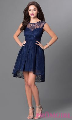 Image of sleeveless high-low navy blue lace homecoming dress. Detail Image 1