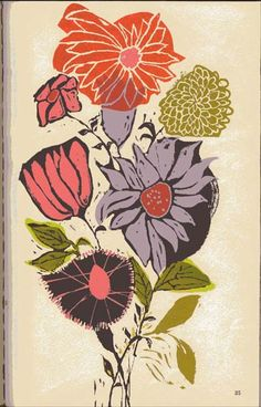"""Lovely floral illustration from  """"Funny Town"""", written by Eve Merriam and illustrated by Evaline Ness. Published in 1963."""