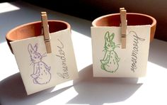 Cute Seed Packet and Pot Peter Rabbit / Beatrix Potter Party Favors by strangers on Etsy