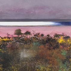 dang this is beautiful! ~Kurt Jackson-Catacol gorse and thrift :whin and sea pinks. Landscape Artwork, Abstract Landscape Painting, Seascape Paintings, Watercolor Landscape, Abstract Art, Watercolour, Kurt Jackson, St Just, Historia Natural