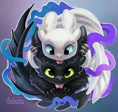 HTTYD 3 Toothless& new female night fury Cute Disney Drawings, Cute Animal Drawings, Kawaii Drawings, Toothless And Stitch, Toothless Dragon, How To Train Dragon, How To Train Your, Photo Pokémon, Dragon Pictures