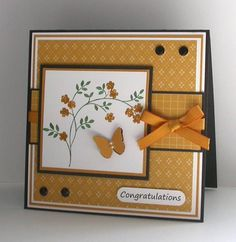handmade card ... like the design ... almost monochromatic with papers, ink and ribbon the same color ... sweet image and small punched butterfly ... Stampin' Up!