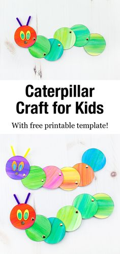 Looking for an easy and fun caterpillar craft for kids? Inspired by The Very Hungry Caterpillar, our simple caterpillar craft includes a printable template, making it perfect for home or school. Easy Arts And Crafts, Easy Crafts For Kids, Arts And Crafts Projects, Easy Diy Crafts, Toddler Crafts, Book Crafts, Preschool Crafts, Projects For Kids, Fun Crafts