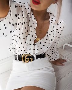 polka dot blouse outfit with Gucci belt Mode Outfits, Fashion Outfits, Womens Fashion, Fashion Trends, Office Outfits, Dressy Outfits, Skirt Outfits, Fashion Clothes, Fashion Ideas