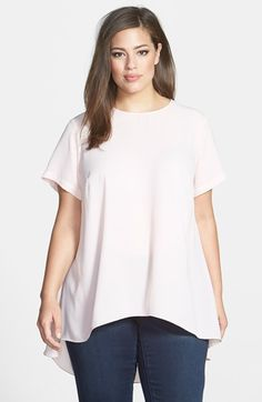 Vince Camuto Short Sleeve High/Low Hem Blouse (Plus Size) available at #Nordstrom