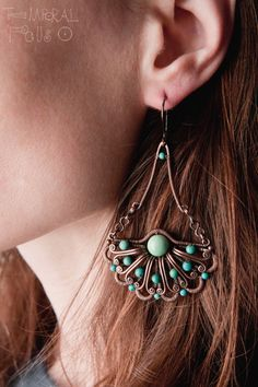 Half-flowers Turquoise, copper earrings, wire wrapped, handmade jewellery, wire-woven