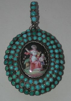A-H Turquoise Enameled Silver Locket. Silver Lockets, Victorian Art, Glitz And Glam, Antique Jewellery, Silver Enamel, Georgian, Turquoise Jewelry, Jewelery, Art Deco