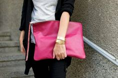 Pink Leather Oversized Clutch by Maiden11976