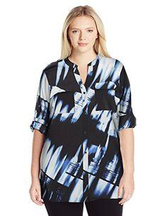Calvin Klein Women's Plus Size Crew Neck Roll Sleeve Blou-$79.50
