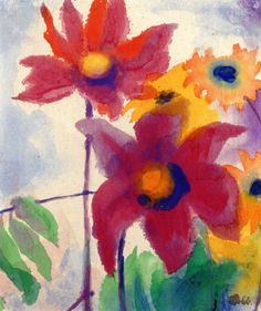 Asters and Small Sunflowers ~ Emil Nolde | Lone Quixote | #EmilNolde…