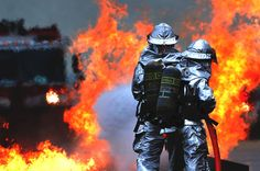 Firefighters, Training, Simulated Plane Fire, Flames