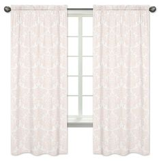 Sweet Jojo Designs Window Panels - Amelia - 2pk - Pink & White Damask