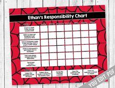 SuperHero Chore chart for kids, Reward Chart, Responsibility Chart, Allowance Chore Chart, Kids chore chart printable, YOU EDIT PDF   #BehaviorChart #ChildrensChart #ChoreChart #KidsChoreChart #IncentiveChart #ResponsibilityChart #AllowanceChart #TeenChoreChart #RewardChart #WeeklyChoreChart