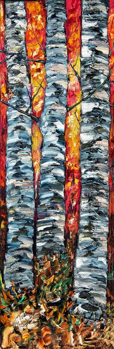 """ARTFINDER: 3 Aspens (PALETTE KNIFE Oil Painting ... by Lena  Owens  - Original palette knife contemporary modern wall art very thick paint layers by OLena Art Signed on the back and front. Title: """""""" Size: 12""""x36""""x 0.5""""  Inches ..."""