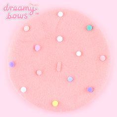 Buy Colourful Pom Pom Beret Hat - Peachy Pink at Dreamy Bows Kawaii Fashion, Lolita Fashion, Cute Fashion, Pretty Outfits, Cute Outfits, Kawaii Accessories, Cute Hats, Kawaii Clothes, Beret Outfit
