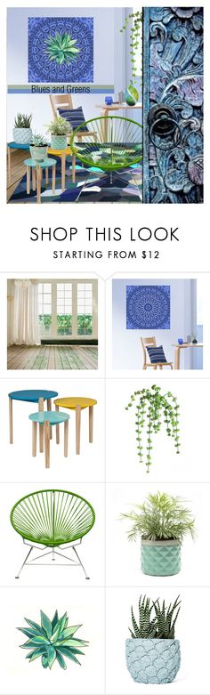 """""""Blues and Greens"""" by nicolevalents ❤ liked on Polyvore featuring interior, interiors, interior design, home, home decor, interior decorating, Innit and Chen Chen & Kai Williams"""