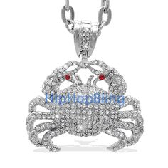 bling bling jewelry | Cancer Zodiac Crab Bling Bling Pendant & 36 Inch Chain