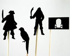 Pirate Make Believe Shadow Puppets Wooden Children's Toys Imaginative Play