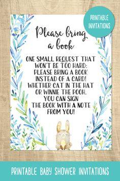Bunny baby shower invitations | rabbit | printable | blue | boys babyer shower | bring a book card