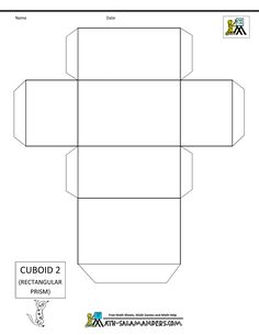 3 d shapes cuboid net 2 tabs make lego Box Templates Printable Free, Cube Template, Paper Box Template, Shape Templates, 3d Geometric Shapes, 3d Shapes, Math Projects, School Projects, Packaging