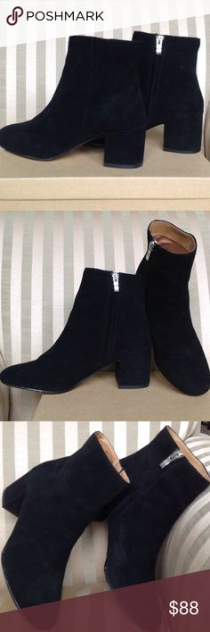 """Urban Outfitters Thelma Boot Black Suede like boot with side zipper. Heel height approx. 2 1/2"""" Urban Outfitters Shoes Ankle Boots & Booties"""