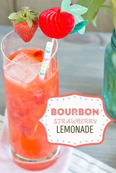 This recipe for a bourbon strawberry lemonade is perfect for spring or summer.