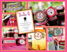 Baby-Q Coed Baby Shower (BBQ)- Whole Party Pack- PRINTABLE (pink, orange, lady bugs, baby q) on Etsy, $35.00