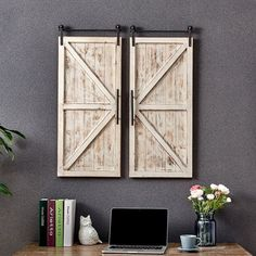 $82.99 · Wall decor is a great way to express your personal style within your home. Bring home a favorite farmhouse style with the FirsTime & Co. Carriage Farmhouse Barn Door Wall Plaque Set. With the look of rustic sliding doors, this pair of wall plaques are perfect as wall art or framing a window. The decorative industrial casters and whitewashed finish will make this impressive rustic wall decor the focal point of any room. Finding the right wall decor piece to suit your style ha..