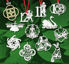 Hand & Hammer 12 Days Of Christmas Complete Set Of Sterling Ornaments, $580