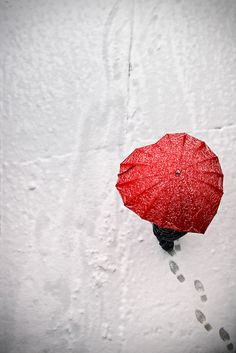 red umbrella and snowing