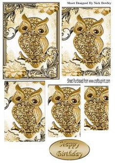 Cute gold diamante owl on a branch with flowers pyramids on Craftsuprint - Add To Basket!