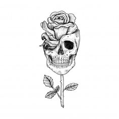 Tattoo and t shirt design hand drawn sku. Tattoo Design Drawings, Skull Tattoo Design, Tattoo Sleeve Designs, Cool Skull Drawings, Skull Design, Guns And Roses, Skull With Roses, Skull And Rose Drawing, Rose Stem Tattoo