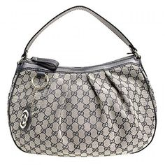 Gucci Sukey Hobo Gucci GG Logo Monogram Navy Leather Hobo Shoulder Bag. Available at http://Brandinia.com