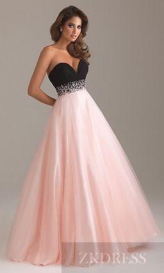 Fashion Pink Sleeveless Long Princess Natural Prom Dress