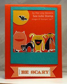 See Julie Stamp - Julie Wadlinger, Stampin' Up! Demonstrator : Swap: Cards in the Mail - Freaky Friends