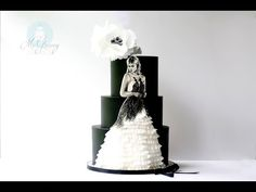 Painting and adding ruffles to wedding gown cake- Time Lapse