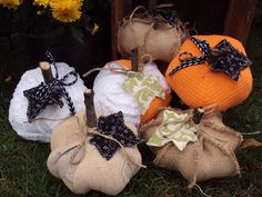 How to make a fabric pumpkin out of burlap or a vintage chenille bedspread.