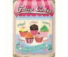 Bonvagon - Mutfak Dekorasyonu - Fairy Cakes - Cup Cakes Metal Kabartmalı Duvar Panosu (30 x 40 cm)