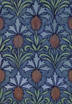 Textile design, by C.F.A. Voysey. Watercolour. London, England, 1918.