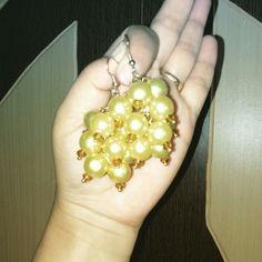 Aura's Yellow Pearl Danglers #Crafts #accessories #pearl #beads #danglers #yellow #earrings