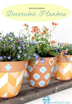 Painting Flower Pots from Remondelando la Casa | Link Party Palooza - Todays Creative Blog
