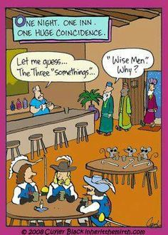 Three blind mice, Musketeers wise men went in a bar. Christian Comics, Christian Cartoons, Funny Christian Memes, Christian Humor, Haha Funny, Funny Cute, Funny Jokes, Hilarious, Funny Stuff