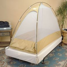 http://www.longroad.com/products/The-Travel-Tent.html  The Travel Tent lets you sleep when traveling without worrying about mosquitos, bedbugs, and other nasty biting insect critters.
